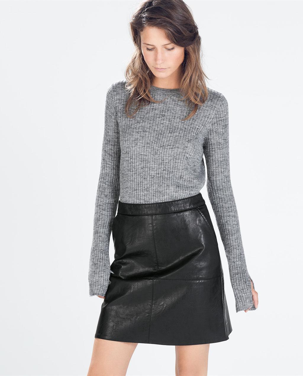 black aline leather mini skirt Zara | SISTER CODE